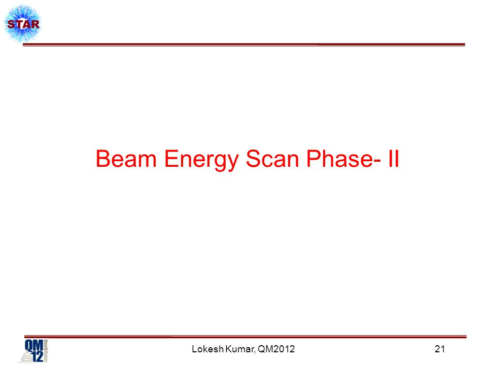 Lokesh Kumar, QM2012 Beam Energy Scan Phase- II 21