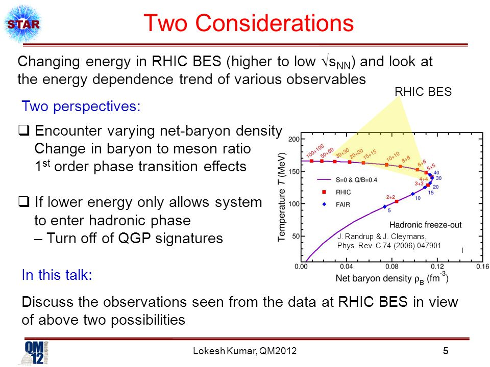 Lokesh Kumar, QM2012 Two Considerations 5 Changing energy in RHIC BES (higher to low √s NN ) and look at the energy dependence trend of various observables J.