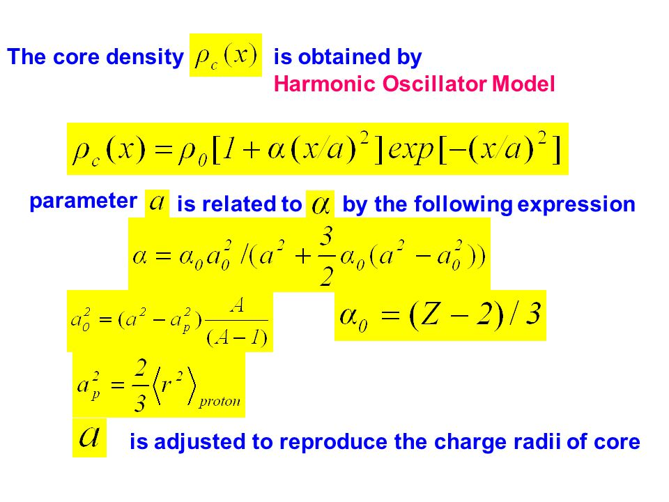 is obtained by Harmonic Oscillator Model The core density parameter is related to by the following expression is adjusted to reproduce the charge radii of core