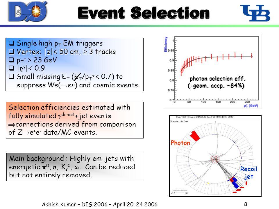 Ashish Kumar – DIS 2006 – April 20-24 2006 8 Event Selection  Single high p T EM triggers  Vertex: |z|  50 cm,  3 tracks  p T   23 GeV  |   |  0.9  Small missing E T (E T /p T   0.7) to suppress Ws(  e ) and cosmic events.