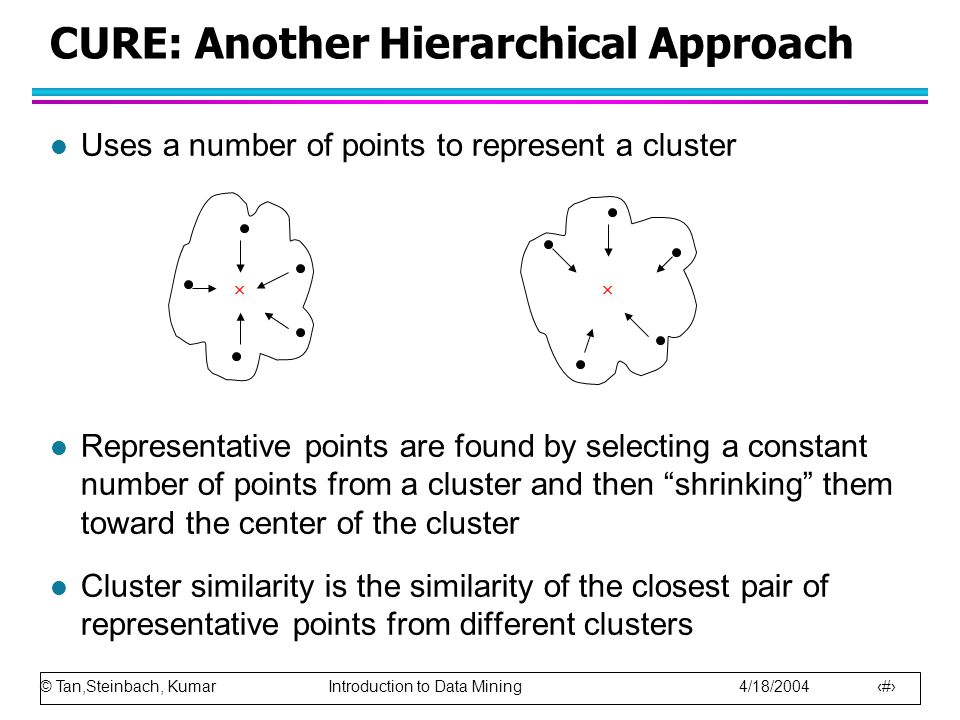 © Tan,Steinbach, Kumar Introduction to Data Mining 4/18/2004 4 l Uses a number of points to represent a cluster l Representative points are found by s