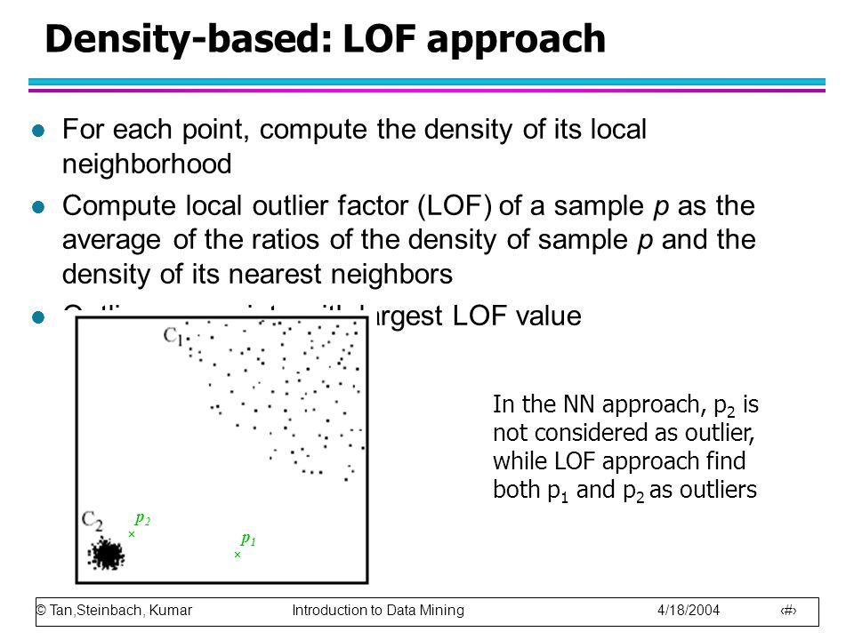 © Tan,Steinbach, Kumar Introduction to Data Mining 4/18/2004 24 Density-based: LOF approach l For each point, compute the density of its local neighborhood l Compute local outlier factor (LOF) of a sample p as the average of the ratios of the density of sample p and the density of its nearest neighbors l Outliers are points with largest LOF value p 2  p 1  In the NN approach, p 2 is not considered as outlier, while LOF approach find both p 1 and p 2 as outliers