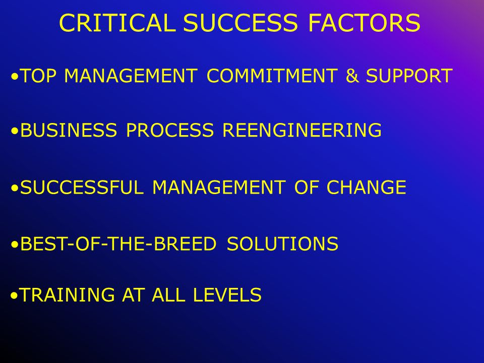 CRITICAL SUCCESS FACTORS BUSINESS PROCESS REENGINEERING TOP MANAGEMENT COMMITMENT & SUPPORT SUCCESSFUL MANAGEMENT OF CHANGE BEST-OF-THE-BREED SOLUTIONS TRAINING AT ALL LEVELS