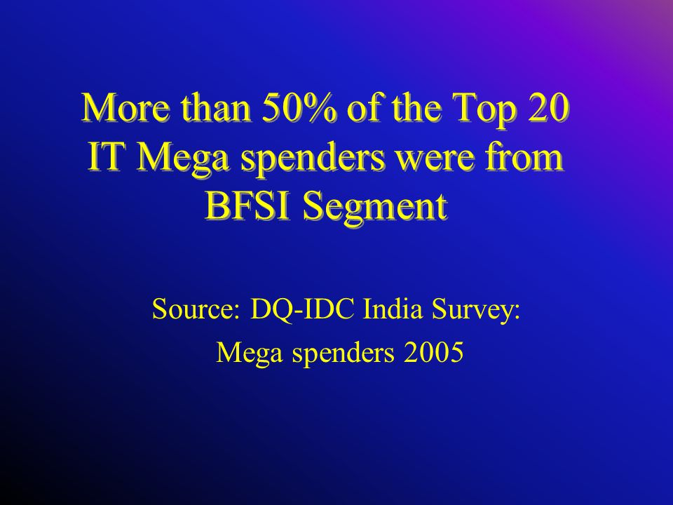 More than 50% of the Top 20 IT Mega spenders were from BFSI Segment Source: DQ-IDC India Survey: Mega spenders 2005