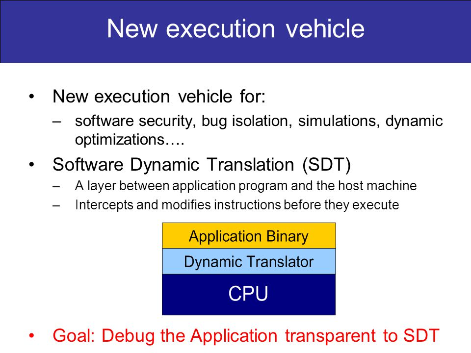 New execution vehicle New execution vehicle for: –software security, bug isolation, simulations, dynamic optimizations…. Software Dynamic Translation