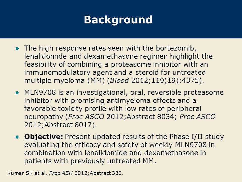 Eligibility and Key Objectives Kumar SK et al.Proc ASH 2012;Abstract 332.