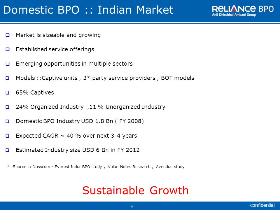confidential 4 Domestic BPO :: Indian Market  Market is sizeable and growing  Established service offerings  Emerging opportunities in multiple sectors  Models ::Captive units, 3 rd party service providers, BOT models  65% Captives  24% Organized Industry,11 % Unorganized Industry  Domestic BPO Industry USD 1.8 Bn ( FY 2008)  Expected CAGR ~ 40 % over next 3-4 years  Estimated Industry size USD 6 Bn in FY 2012 * Source :: Nasscom - Everest India BPO study, Value Notes Research, Avendus study Sustainable Growth *