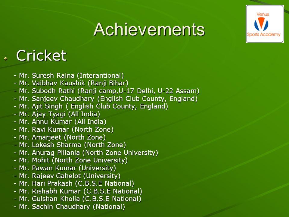 Achievements Cricket Cricket - Mr. Suresh Raina (Interantional) - Mr. Vaibhav Kaushik (Ranji Bihar) - Mr. Subodh Rathi (Ranji camp,U-17 Delhi, U-22 As
