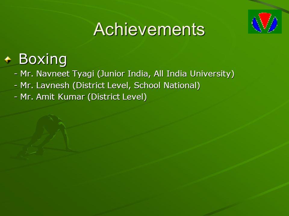 Achievements Boxing Boxing - Mr. Navneet Tyagi (Junior India, All India University) - Mr. Lavnesh (District Level, School National) - Mr. Amit Kumar (