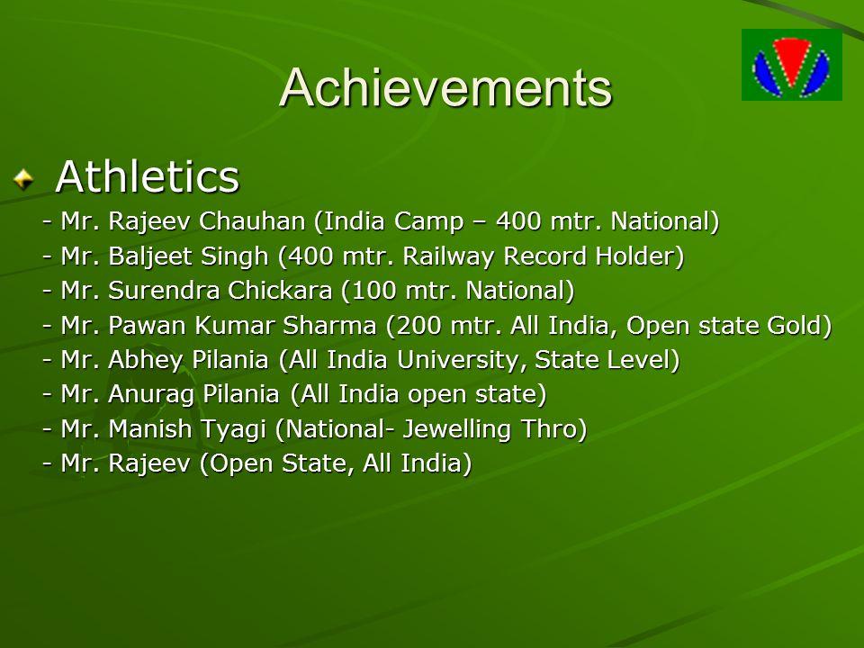 Achievements Athletics Athletics - Mr.Rajeev Chauhan (India Camp – 400 mtr.