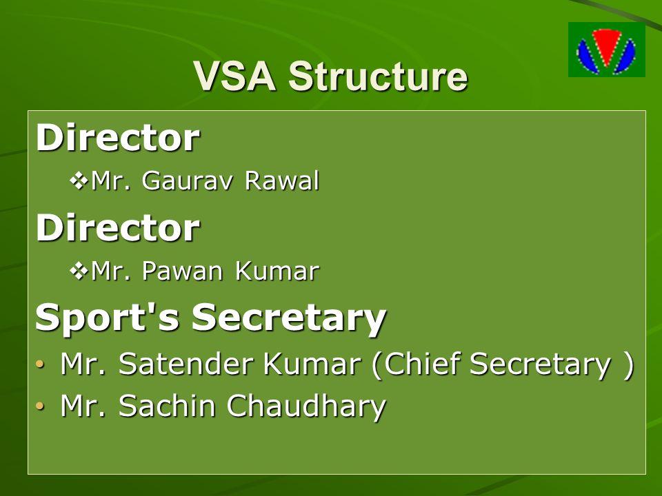 VSA Structure Director  Mr. Gaurav Rawal Director  Mr. Pawan Kumar Sport's Secretary Mr. Satender Kumar (Chief Secretary ) Mr. Satender Kumar (Chief