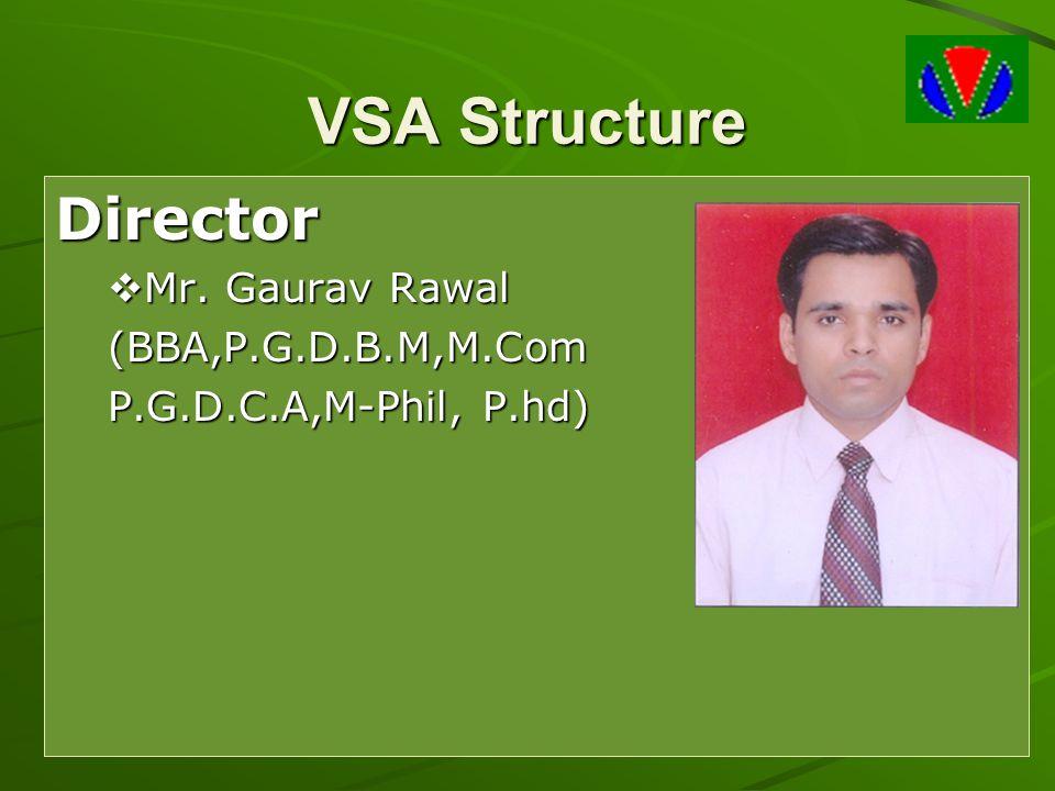 VSA Structure Director  Mr. Gaurav Rawal (BBA,P.G.D.B.M,M.Com P.G.D.C.A,M-Phil, P.hd)