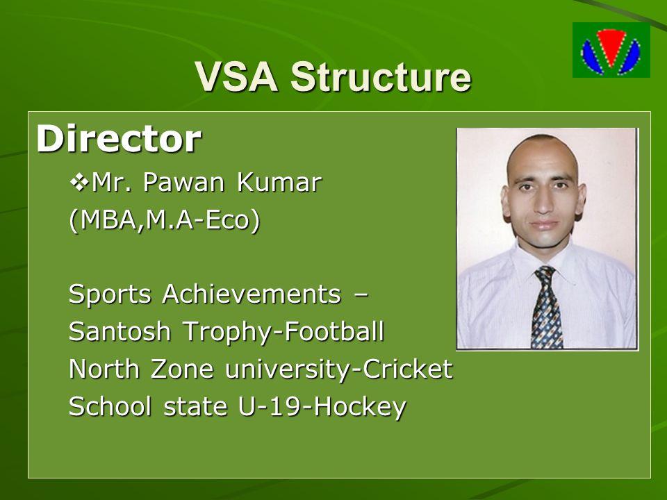 VSA Structure Director  Mr. Pawan Kumar (MBA,M.A-Eco) Sports Achievements – Santosh Trophy-Football North Zone university-Cricket School state U-19-H
