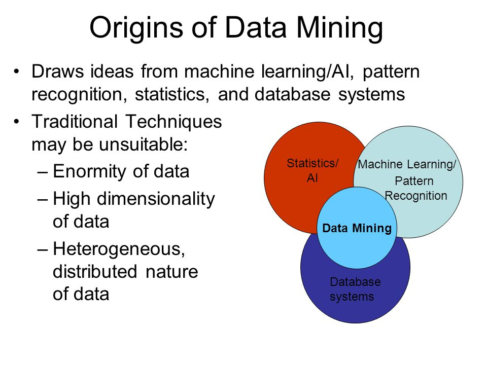 Draws ideas from machine learning/AI, pattern recognition, statistics, and database systems Traditional Techniques may be unsuitable: –Enormity of dat