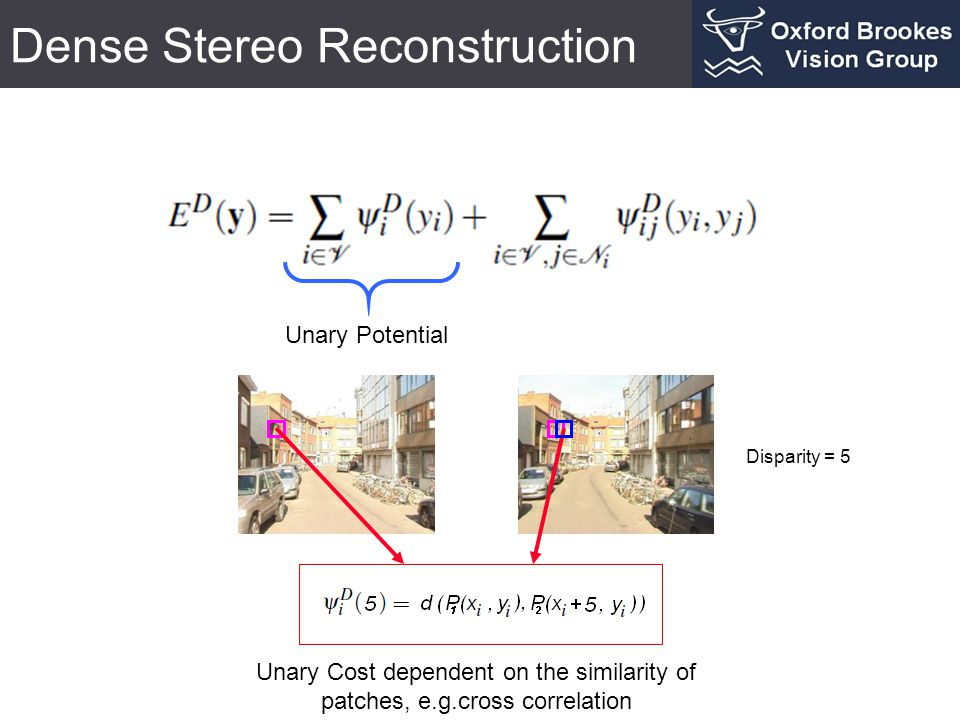 Dense Stereo Reconstruction Unary Potential Unary Cost dependent on the similarity of patches, e.g.cross correlation Disparity = 5
