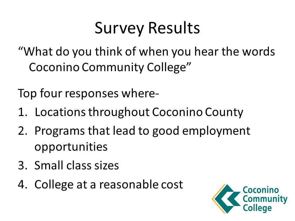 "Survey Results ""What do you think of when you hear the words Coconino Community College"" Top four responses where- 1. Locations throughout Coconino Co"