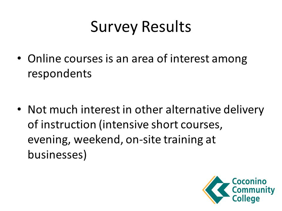 Survey Results Online courses is an area of interest among respondents Not much interest in other alternative delivery of instruction (intensive short