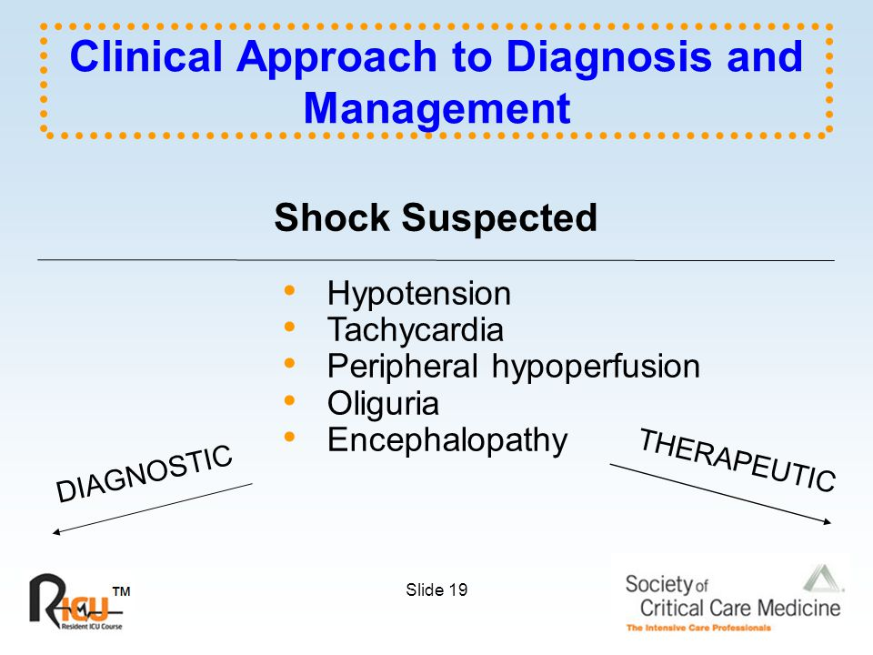 Slide 19 Shock Suspected Hypotension Tachycardia Peripheral hypoperfusion Oliguria Encephalopathy DIAGNOSTIC THERAPEUTIC Clinical Approach to Diagnosis and Management