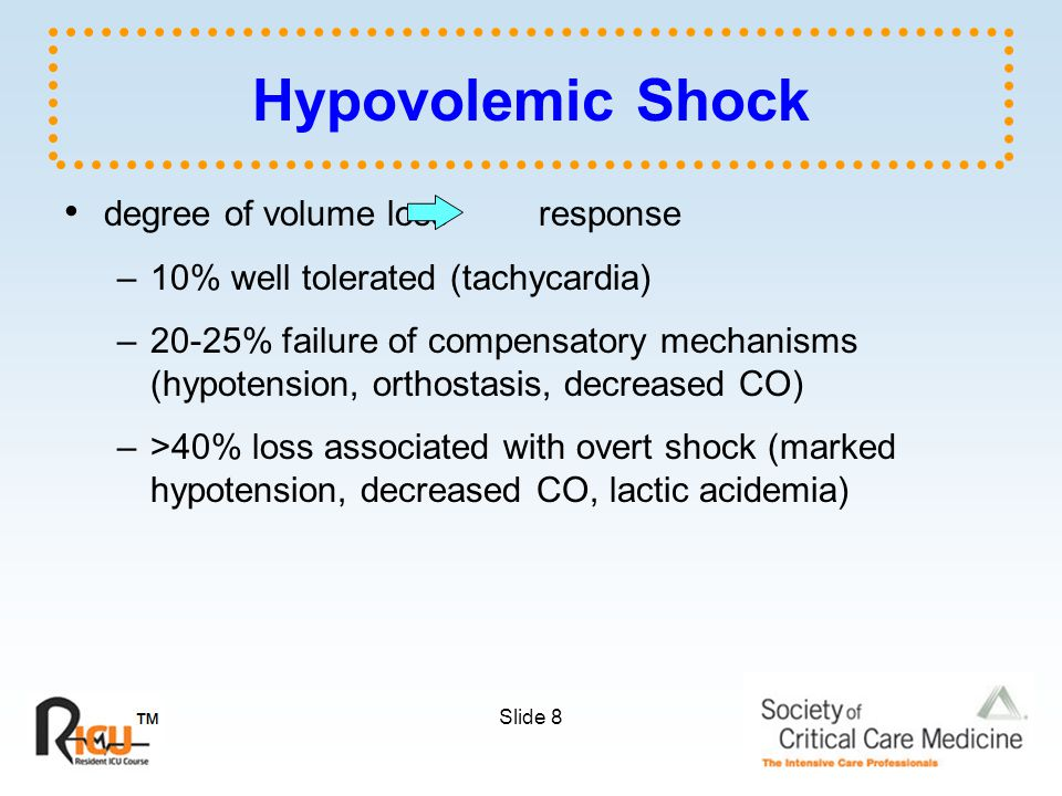 Slide 8 Hypovolemic Shock degree of volume loss response –10% well tolerated (tachycardia) –20-25% failure of compensatory mechanisms (hypotension, orthostasis, decreased CO) –>40% loss associated with overt shock (marked hypotension, decreased CO, lactic acidemia)
