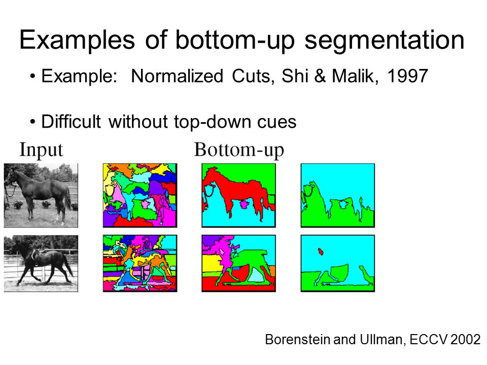 Examples of bottom-up segmentation Borenstein and Ullman, ECCV 2002 Example: Normalized Cuts, Shi & Malik, 1997 Difficult without top-down cues