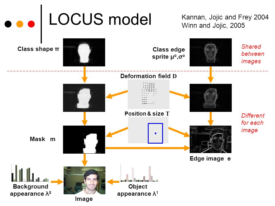 LOCUS model Deformation field D Position & size T Class shape π Class edge sprite μ o,σ o Edge image e Image Object appearance λ 1 Background appearance λ 0 Mask m Shared between images Different for each image Kannan, Jojic and Frey 2004 Winn and Jojic, 2005