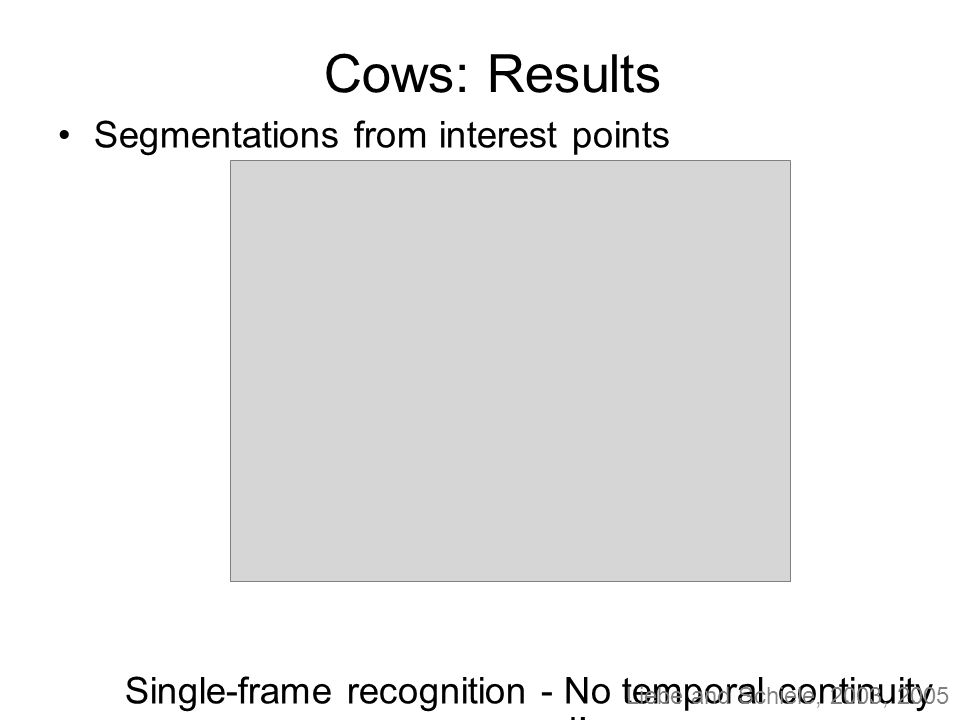 Cows: Results Segmentations from interest points Single-frame recognition - No temporal continuity used.