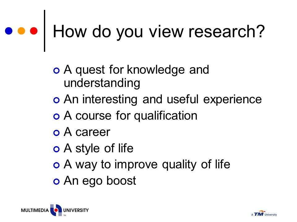 How do you view research? A quest for knowledge and understanding An interesting and useful experience A course for qualification A career A style of