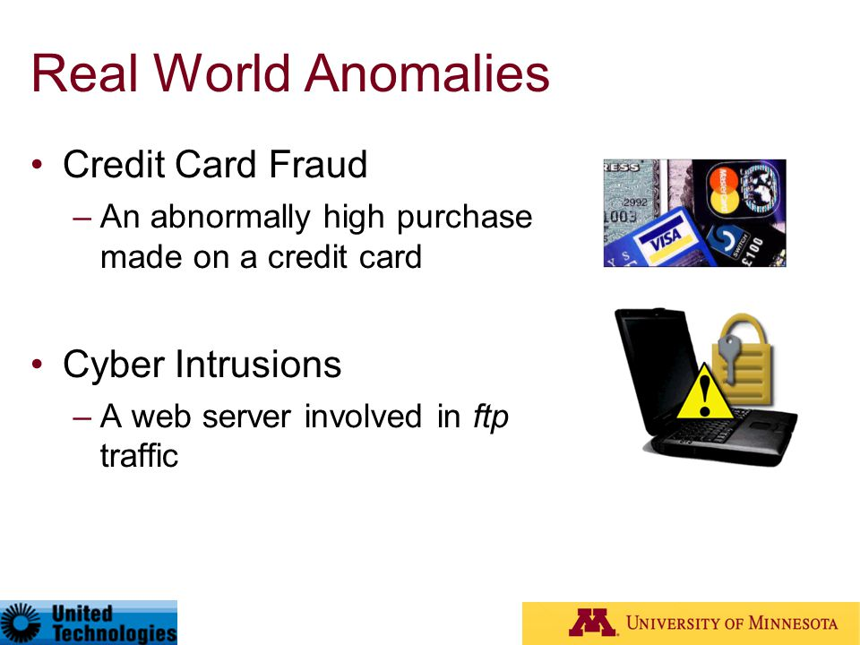 Real World Anomalies Credit Card Fraud –An abnormally high purchase made on a credit card Cyber Intrusions –A web server involved in ftp traffic