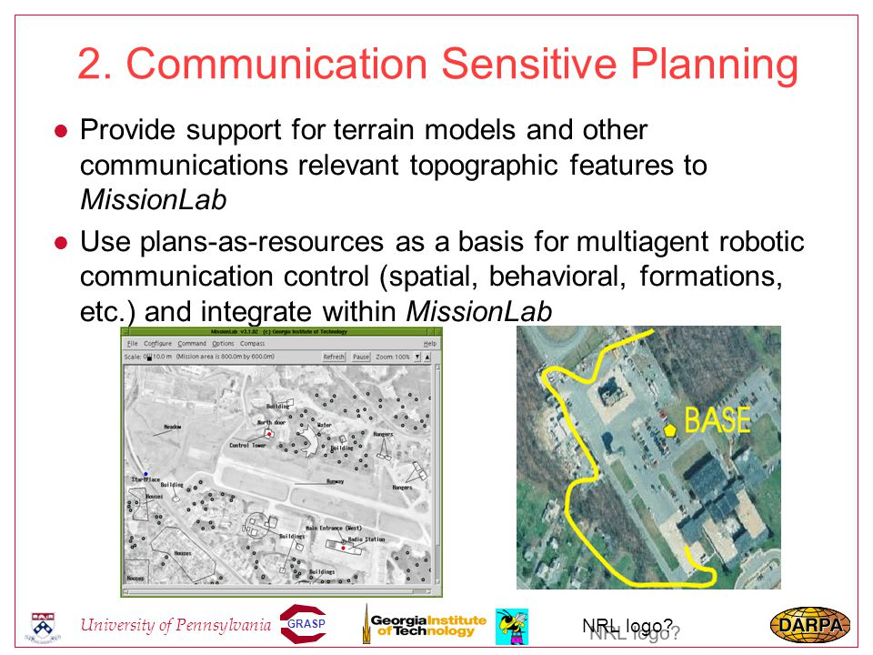 GRASP University of Pennsylvania NRL logo? 2. Communication Sensitive Planning l Provide support for terrain models and other communications relevant