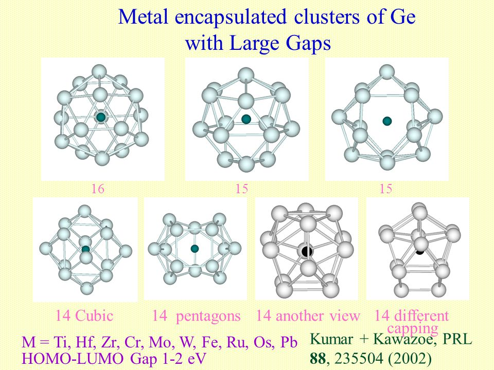 Metal encapsulated clusters of Ge with Large Gaps 1615 14 Cubic 14 pentagons 14 another view 14 different capping M = Ti, Hf, Zr, Cr, Mo, W, Fe, Ru, O