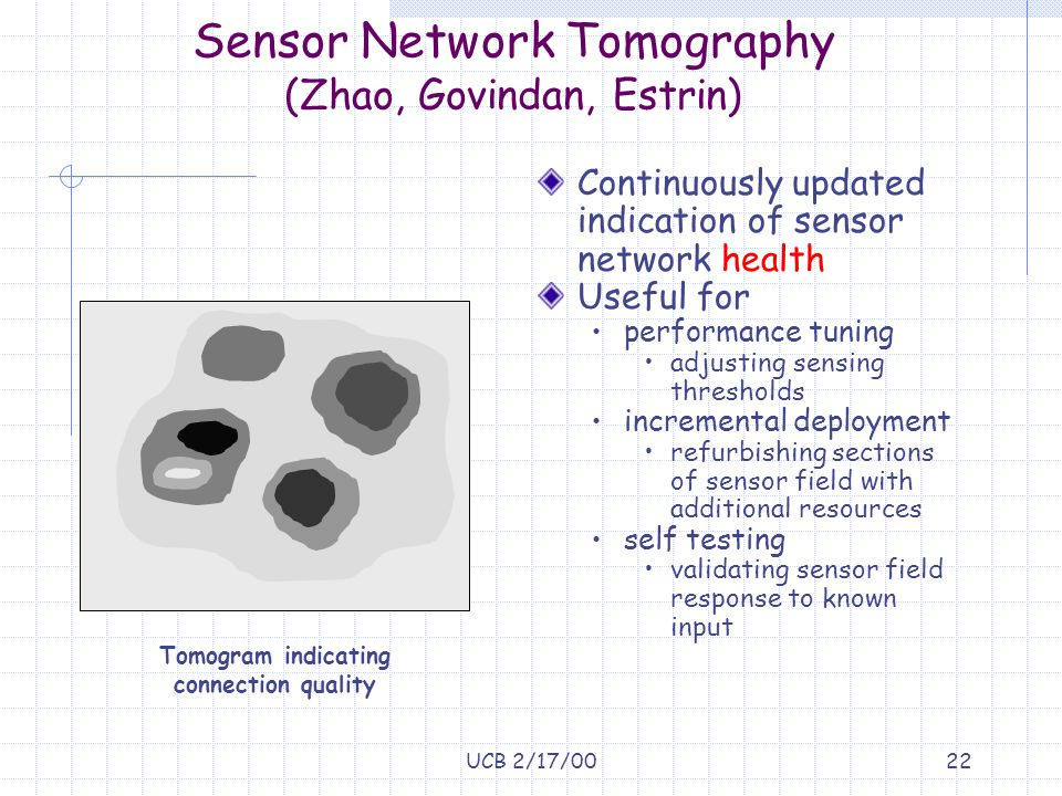 UCB 2/17/0022 Sensor Network Tomography (Zhao, Govindan, Estrin) Continuously updated indication of sensor network health Useful for performance tunin