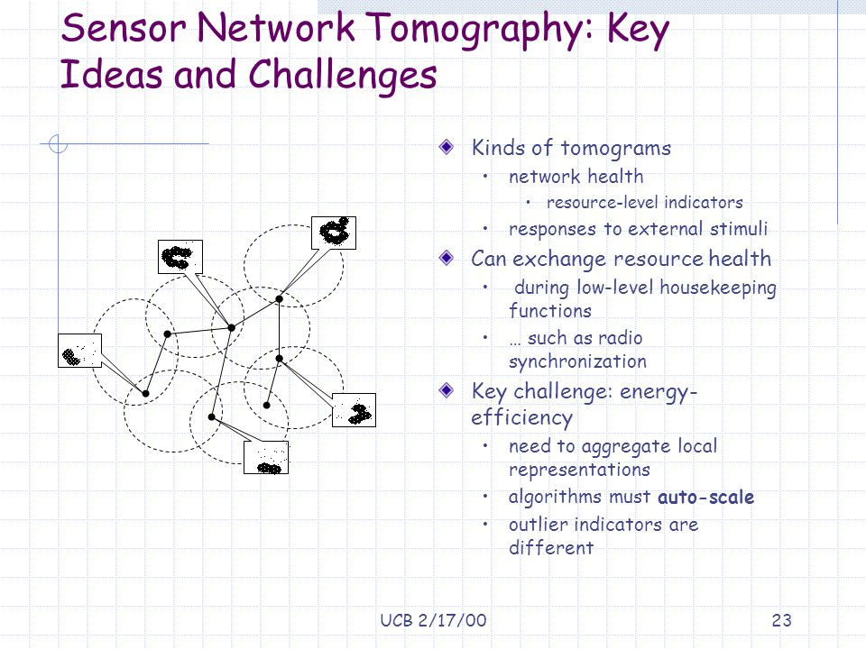 UCB 2/17/0023 Sensor Network Tomography: Key Ideas and Challenges Kinds of tomograms network health resource-level indicators responses to external st