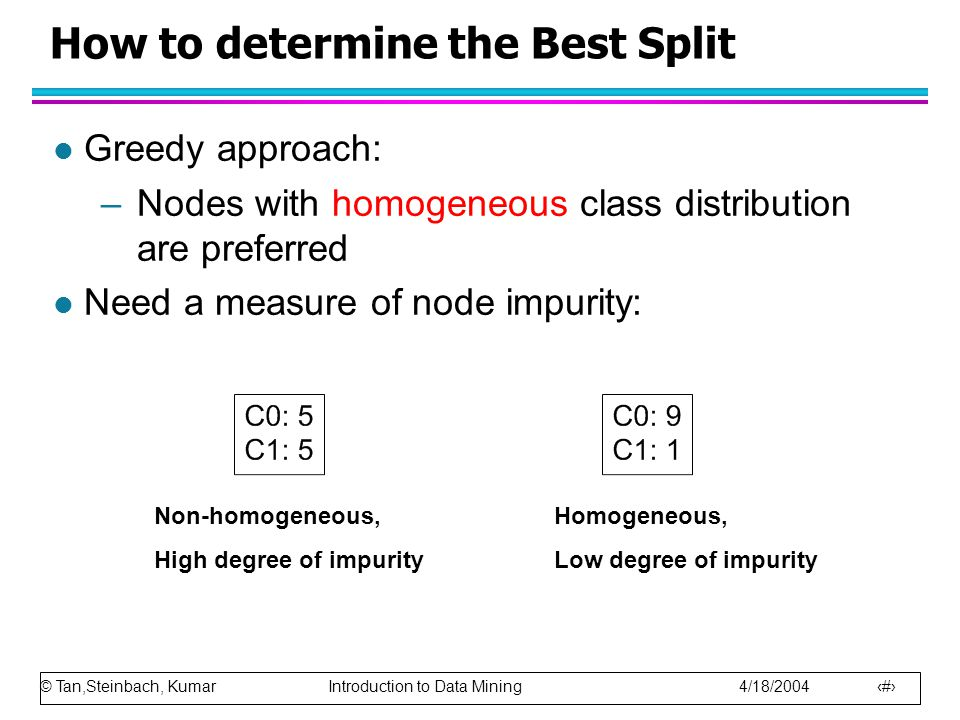 © Tan,Steinbach, Kumar Introduction to Data Mining 4/18/2004 28 How to determine the Best Split l Greedy approach: –Nodes with homogeneous class distr
