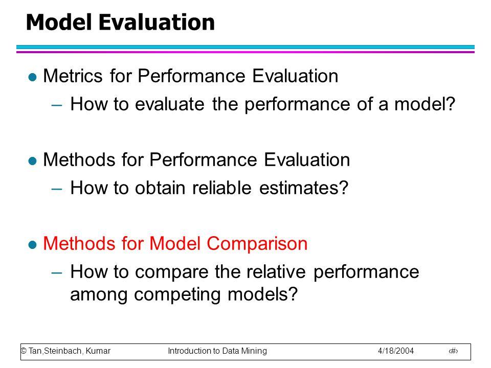 © Tan,Steinbach, Kumar Introduction to Data Mining 4/18/2004 87 Model Evaluation l Metrics for Performance Evaluation –How to evaluate the performance