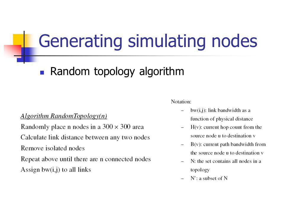 Generating simulating nodes Random topology algorithm