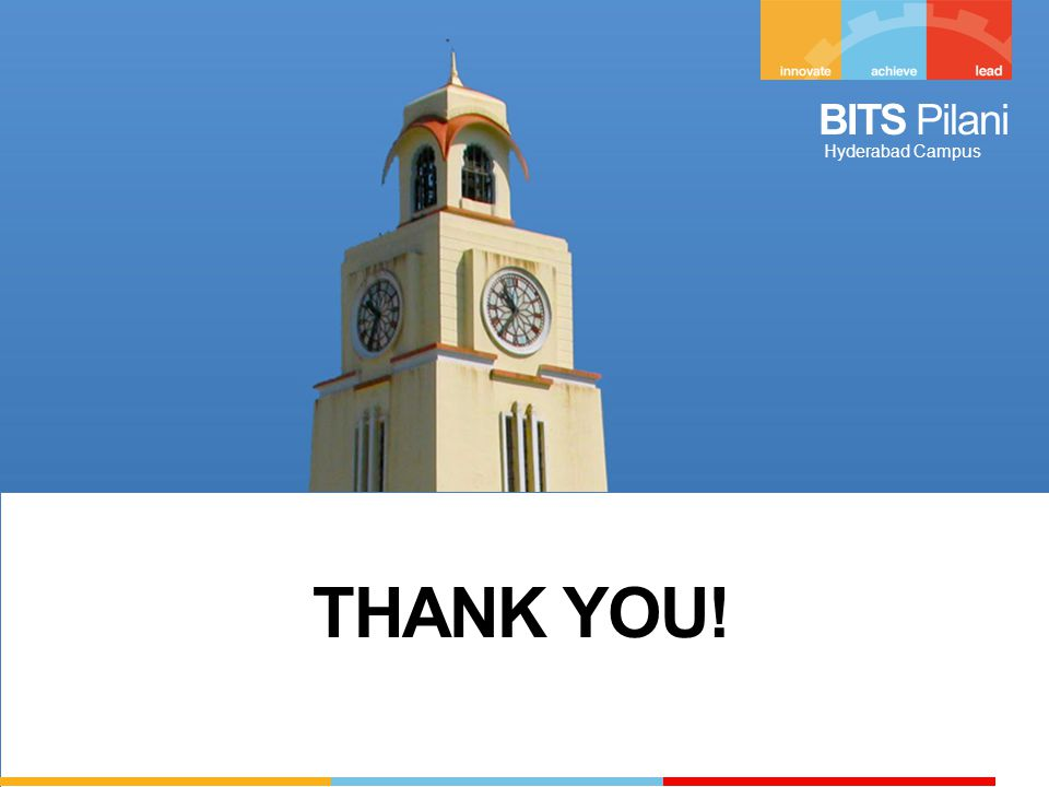 BITS Pilani Hyderabad Campus THANK YOU!