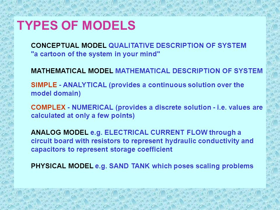 TYPES OF MODELS CONCEPTUAL MODEL QUALITATIVE DESCRIPTION OF SYSTEM a cartoon of the system in your mind MATHEMATICAL MODEL MATHEMATICAL DESCRIPTION OF SYSTEM SIMPLE - ANALYTICAL (provides a continuous solution over the model domain) COMPLEX - NUMERICAL (provides a discrete solution - i.e.