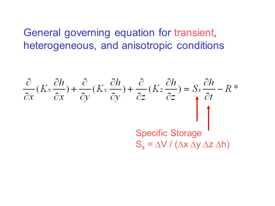 General governing equation for transient, heterogeneous, and anisotropic conditions Specific Storage S s =  V / (  x  y  z  h)