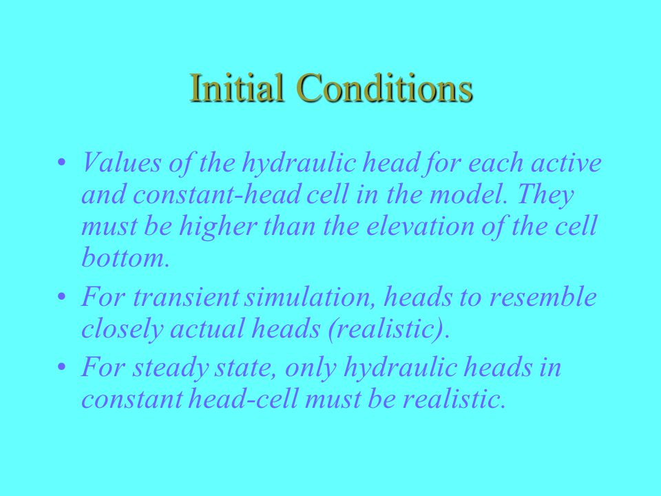 Initial Conditions Values of the hydraulic head for each active and constant-head cell in the model.