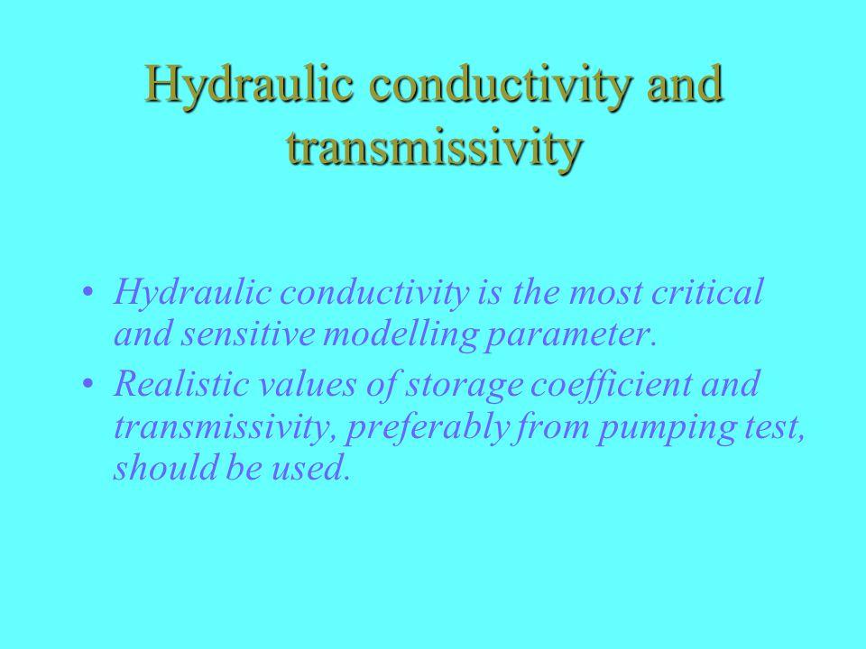 Hydraulic conductivity and transmissivity Hydraulic conductivity is the most critical and sensitive modelling parameter.