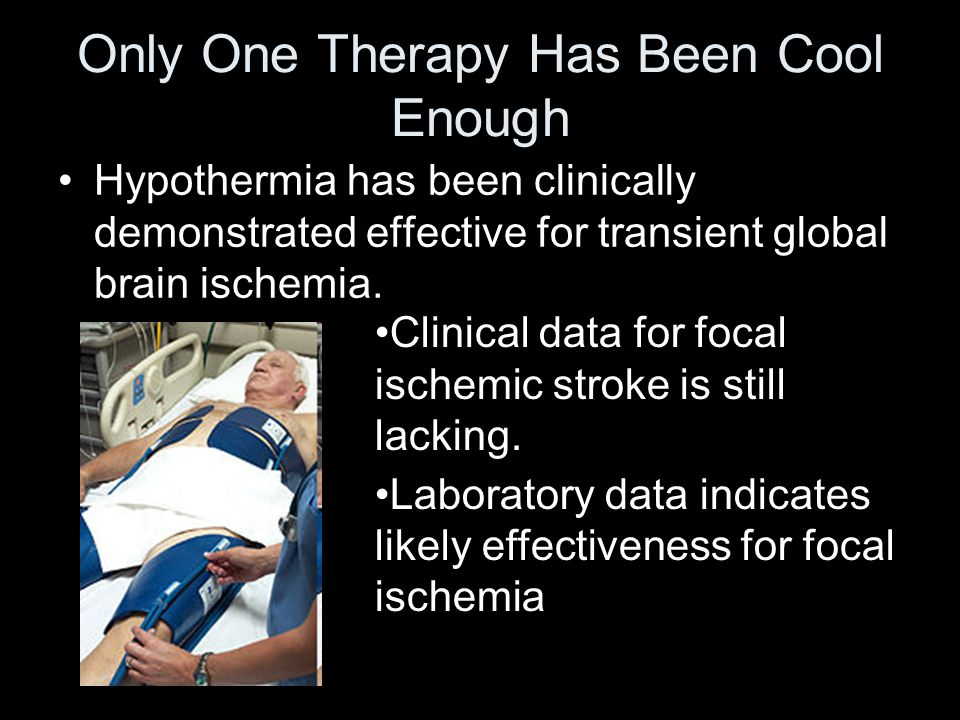 Only One Therapy Has Been Cool Enough Hypothermia has been clinically demonstrated effective for transient global brain ischemia.