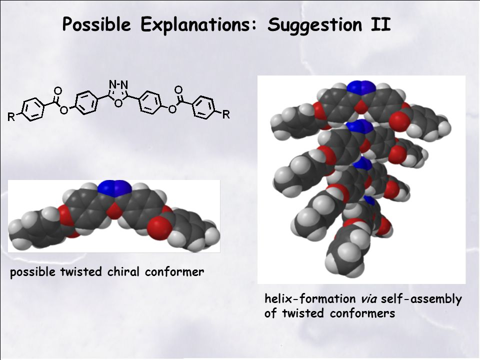 possible twisted chiral conformer Possible Explanations: Suggestion II helix-formation via self-assembly of twisted conformers