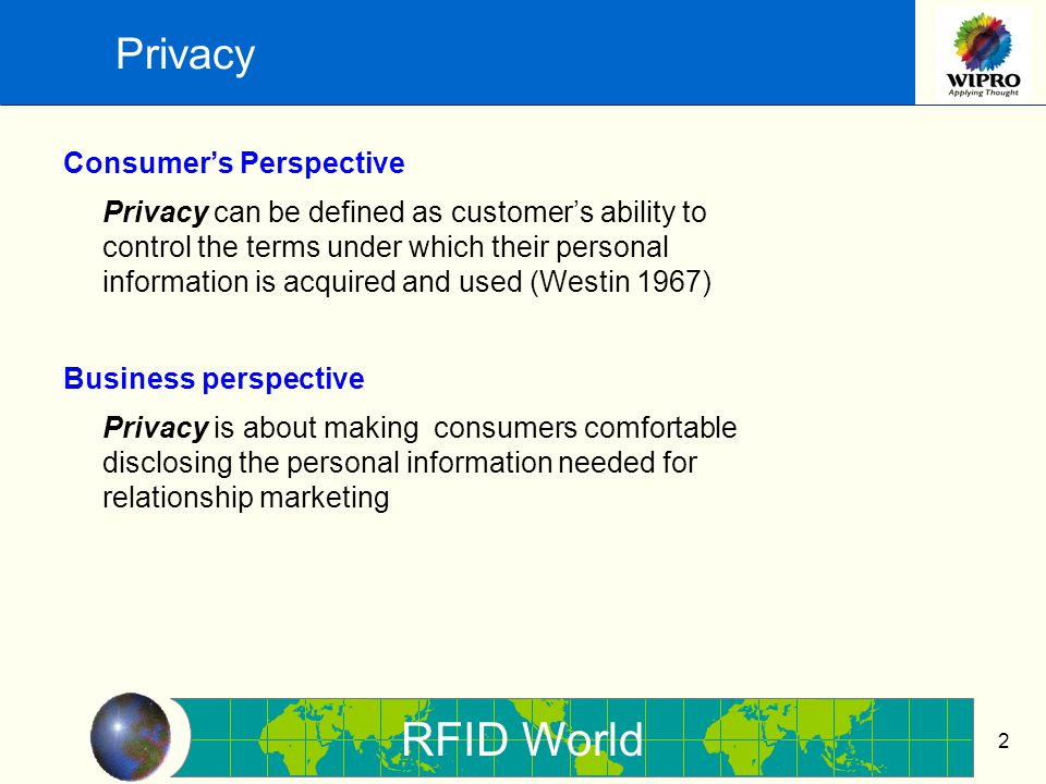 RFID World 3 Privacy in context of RFID Some Concerns 1.