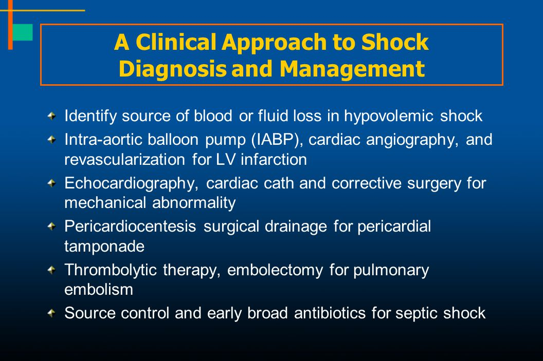 A Clinical Approach to Shock Diagnosis and Management Identify source of blood or fluid loss in hypovolemic shock Intra-aortic balloon pump (IABP), ca