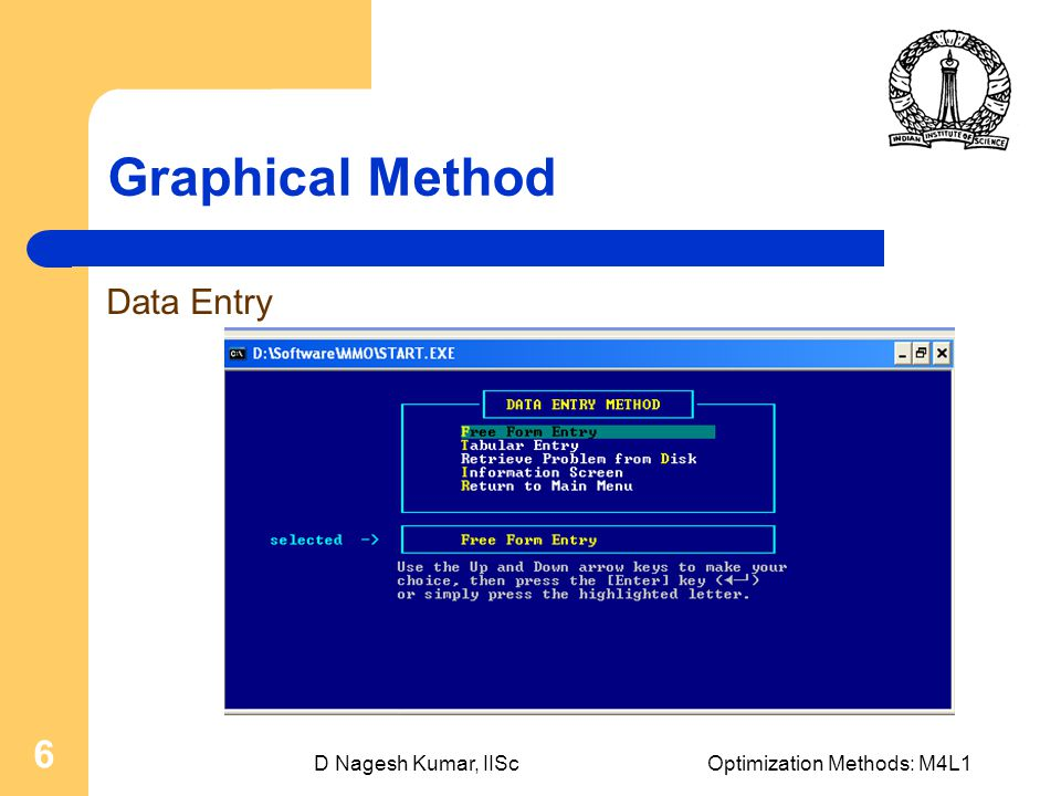 D Nagesh Kumar, IIScOptimization Methods: M4L1 6 Graphical Method Data Entry