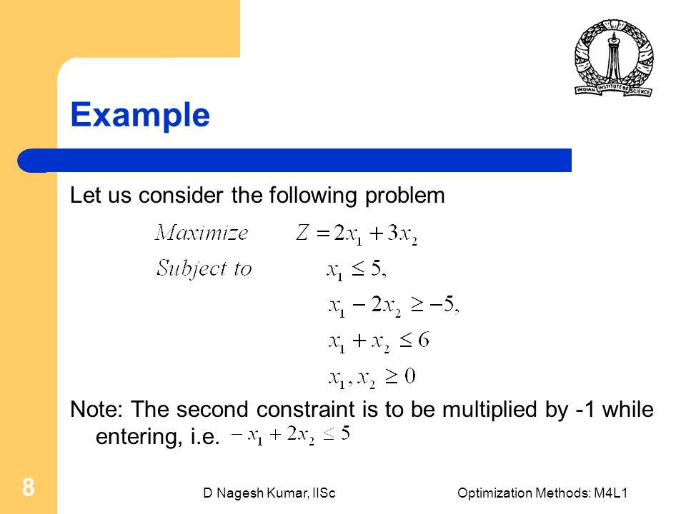 D Nagesh Kumar, IIScOptimization Methods: M4L1 8 Example Let us consider the following problem Note: The second constraint is to be multiplied by -1 while entering, i.e.