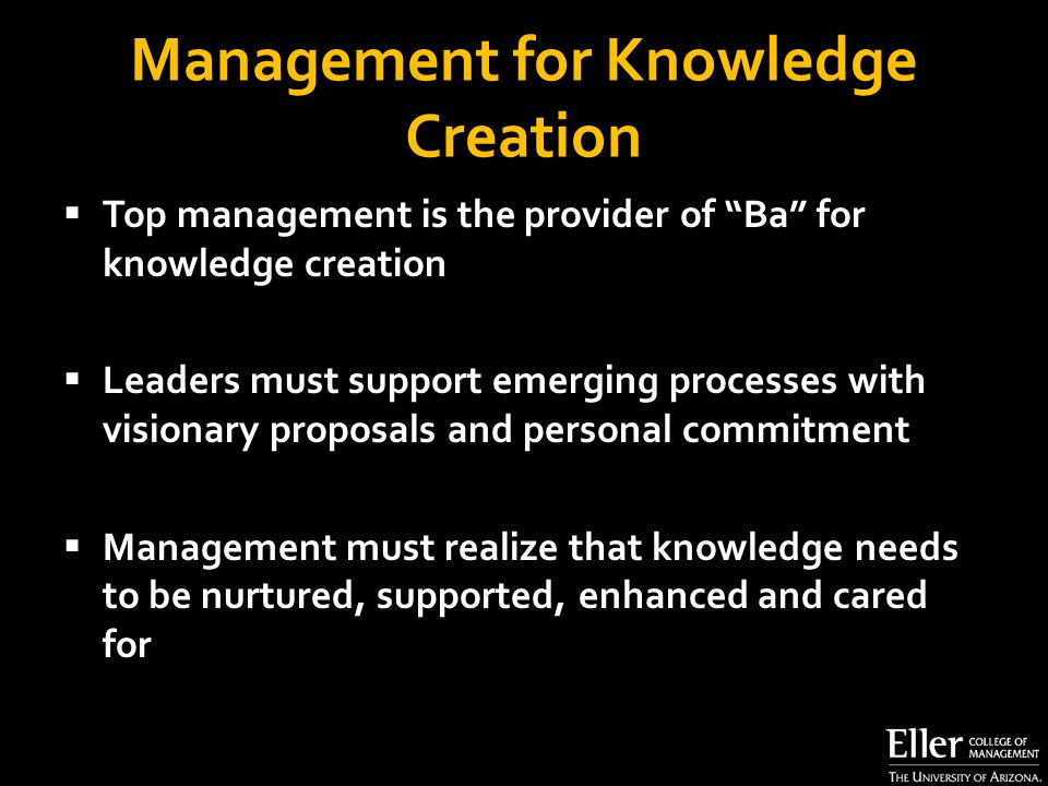 Management for Knowledge Creation  Top management is the provider of Ba for knowledge creation  Leaders must support emerging processes with visionary proposals and personal commitment  Management must realize that knowledge needs to be nurtured, supported, enhanced and cared for