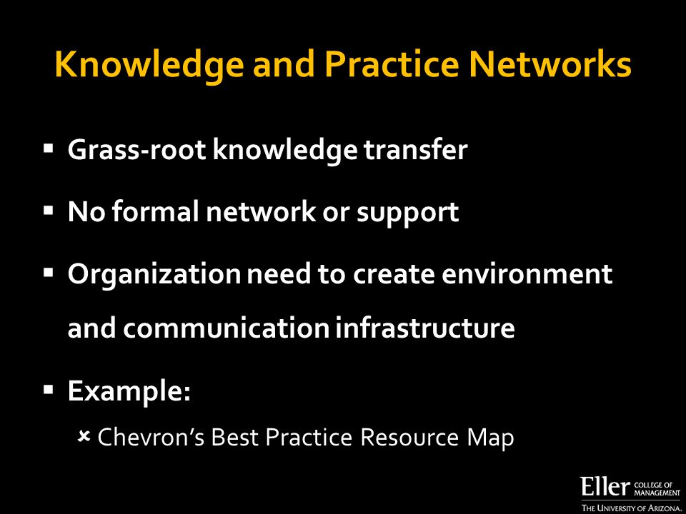 Knowledge and Practice Networks  Grass-root knowledge transfer  No formal network or support  Organization need to create environment and communication infrastructure  Example:  Chevron's Best Practice Resource Map