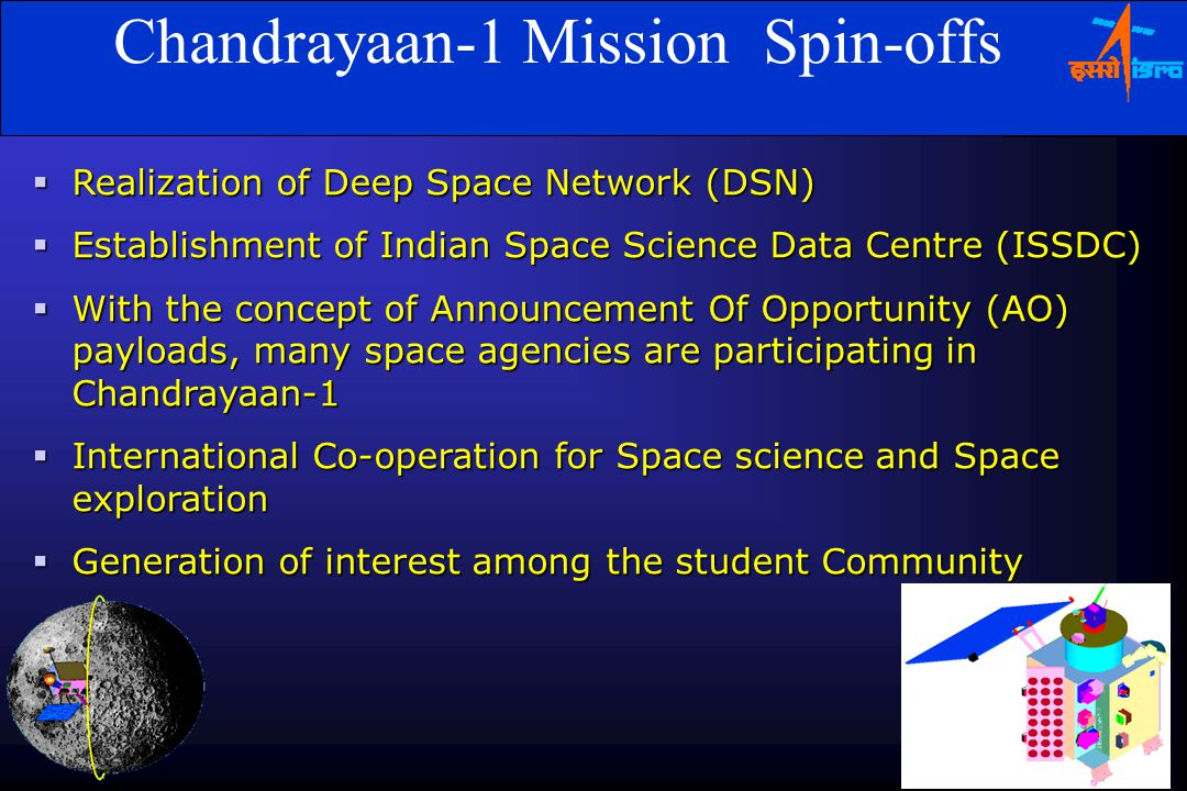 Chandrayaan-1 Mission Spin-offs  Realization of Deep Space Network (DSN)  Establishment of Indian Space Science Data Centre (ISSDC)  With the concept of Announcement Of Opportunity (AO) payloads, many space agencies are participating in Chandrayaan-1  International Co-operation for Space science and Space exploration  Generation of interest among the student Community