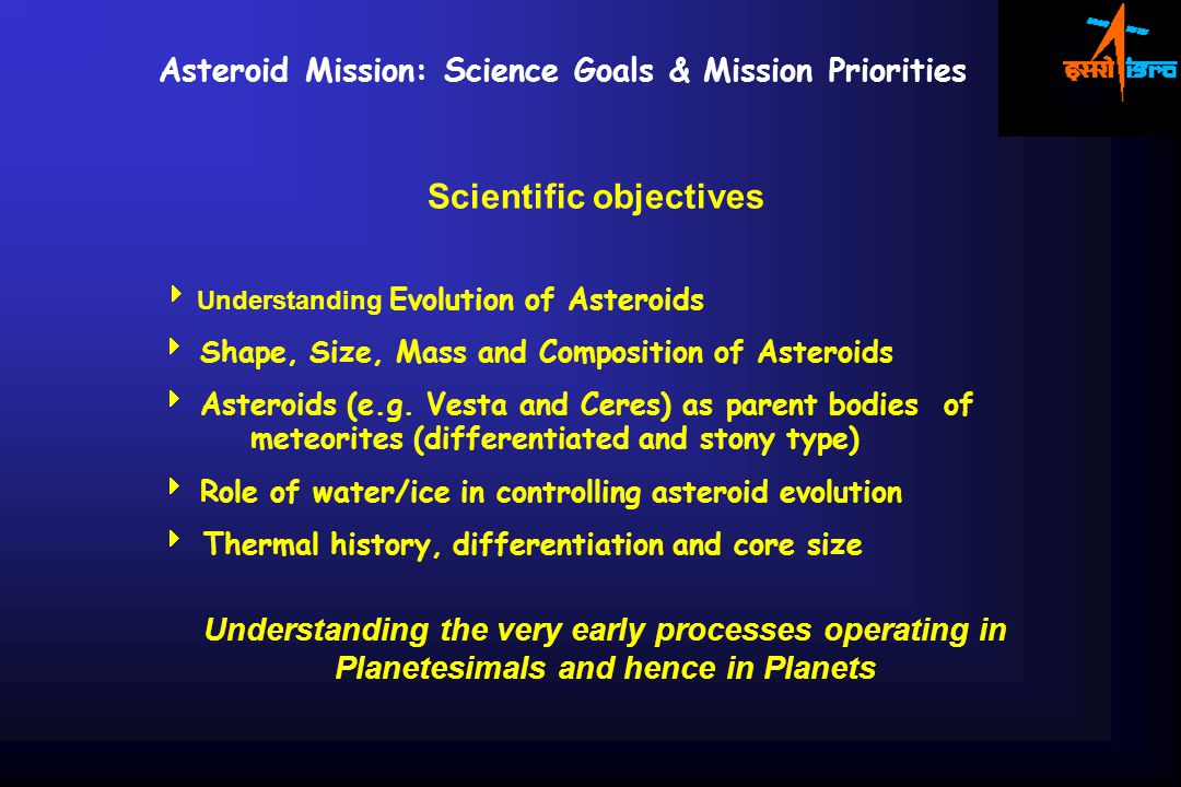 Scientific objectives  Understanding Evolution of Asteroids  Shape, Size, Mass and Composition of Asteroids  Asteroids (e.g.
